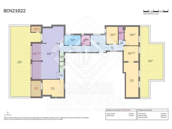 Penthouse van 186m² te koop met 110m² terras in Eixample Rechts